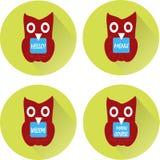 Burgundy owl, holding in  black  beak blue board with white inscription Hi, Menu, Main course, Welcome Stock Photo