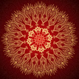 Burgundy pattern with gold lace ornament Stock Image