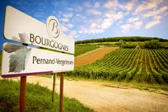 Burgundy, Pernand-Vergelesses wine is produced in the commune of Pernand-Vergelesses in Côte de Beaune.France. Burgundy, a panoramic road that crosses the stock image
