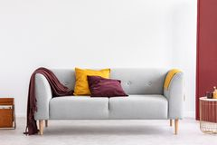 Burgundy pillow and blanket in elegant living room interior with copy space on. Burgundy pillow and blanket and yellow pillow and blanket on stylish grey couch stock image