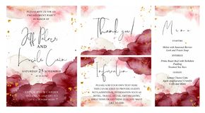 Burgundy, pink and gold wedding set with hand drawn watercolor background. Cards templates. Burgundy, pink and gold wedding set with hand drawn watercolor royalty free illustration