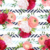 Burgundy red and white peonies, ranunculus, rose seamless vector pattern. Blue triangle striped elegant print with luxury bright flowers Stock Image