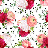 Burgundy red and white peonies, ranunculus, rose seamless vector. Pattern. Stylish funky print with luxury bright flowers and black round dots confetti stock illustration