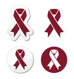 Burgundy ribbon symbol of brain aneurysm, Cesarean section, headaches Stock Images