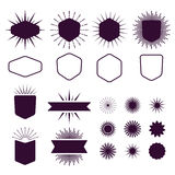 Burgundy set of empty and silhouette design elements on white background Royalty Free Stock Photography