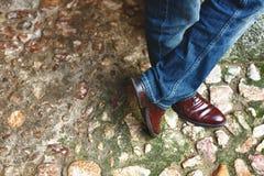 Burgundy shoes Stock Photo