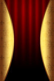 Burgundy Teatralnie tło z Złotymi elementami Obraz Stock
