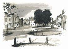 Burhham市场,诺福克,英国草图  免版税图库摄影