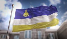 Buriácia embandeira a rendição 3D no fundo da construção do céu azul Imagem de Stock Royalty Free