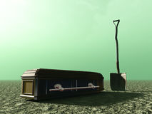 Burial abstract with spade and coffin Royalty Free Stock Image