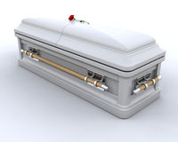 Burial Casket. 3D render of an ornate coffin Stock Photography