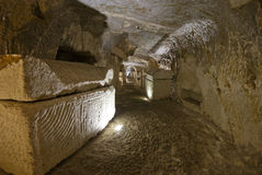 Burial cave. The catacombs of Beit Shearim, an ancient jewish necropolis in Israel Stock Image