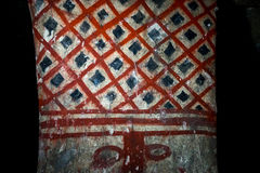 Burial chamber painting in Colombia. Ancient grave painting in Tierradentro Colombia stock image