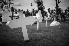 Burial cross in a graveyard - Black and white version Stock Photo