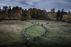 Burial ground in Västerås. View of a pre historic burial ground in Sweden. Within the grave-field area there are many standing stones. Located in Royalty Free Stock Photography