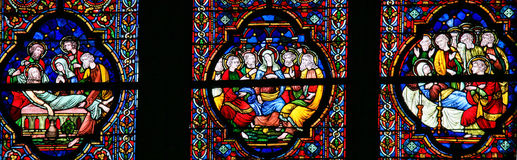 Burial of Jesus, Mary and Pentecost - Stained Glass Stock Image