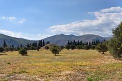 Burial mound on the plain of Marathon battle Royalty Free Stock Photo