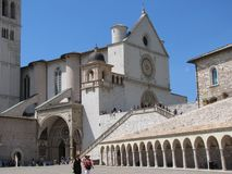 The burial place of St. Francis is the medieval Basilica di San Francesco. The medieval town of Assisi in Italy is the home to the Basilica di San Francesco, the royalty free stock images