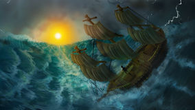 Burial at sea. Painted image of ship facing dangerous storm Royalty Free Stock Image