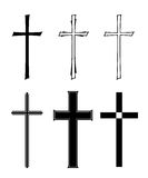 Burial. Set with different designs of grave crosses Royalty Free Stock Photography
