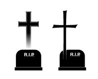 Burial. Two different tombstones with cross and inscription Royalty Free Stock Image