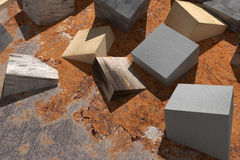 Buried cubes Royalty Free Stock Images