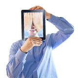 He buried his face in his hands.Digital salesman. Smiling and hidden man in the studio. Digital geneartion Stock Image