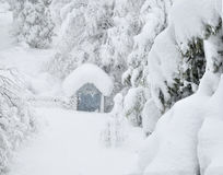 Buried in snow. Little playhouse buried in snow Royalty Free Stock Images