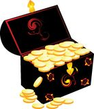 Buried treasure. Box of coins. Vector illustration stock illustration