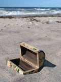Buried treasure-chest... too late :-). Little, wooden chest on the beach Stock Image