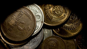Buried treasure. Soviet coins in a forgotten box Royalty Free Stock Photos