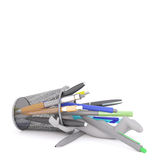 Buried under pens and markers Royalty Free Stock Images