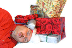 Buried under the presents Royalty Free Stock Photo