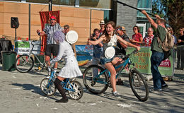 BURIEN, WA - AUGUST 18 - Teens in Annual Pie Joust. BURIEN, WA - AUGUST 18: Unidentified teens age 16 of Burien, competed at 1st annual pie joust on bikes royalty free stock photography