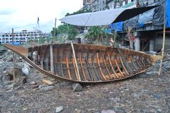 View of the Buriganga river at boat. Royalty Free Stock Images