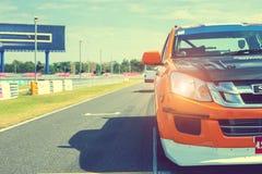 Buriram Tailandia Corsa di macchina da corsa su una pista Immagini Stock Libere da Diritti