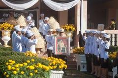Buriram, Tailandia - 26 de octubre de 2017: Oficial tailandés del gobierno adentro Fotografía de archivo