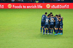 BURIRAM, THAILAND - AUGUST 15: Harmony of players during Thai Premier League 2015 between Buriram United and Suphanburi F.C. at I- Royalty Free Stock Photo