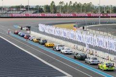 BURIRAM, THAILAND - JANUARY 7, 2017:  Race car line up for quali Stock Images