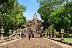 Prasat Phanom Rung Khmer-style temple complex in Buriram, Thailand. Buriram, Thailand - June 19, 2017: Thai schoolchildren taking a study tour at Prasat Phanom Stock Images