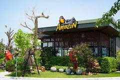 Buriram, Thailand - Oct, 2018: Cafe Amazon coffee shop with blue sky background. Cafe`Amazon has been in the coffee business sinc. Buriram, Thailand - Oct, 2018 royalty free stock photo