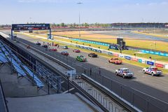 Buriram Thailand. Race car racing on a track. Stock Images