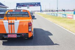 Buriram Thailand. Race car racing on a track. Royalty Free Stock Images