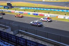 Buriram Thailand. Race car racing on a track. Royalty Free Stock Image