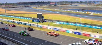 Buriram Thailand. Race car racing on a track. Stock Photo