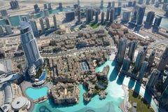 从Burj哈利法,迪拜,阿拉伯联合酋长国的顶视图 图库摄影