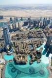 从Burj哈利法,迪拜,阿拉伯联合酋长国的顶视图 免版税图库摄影