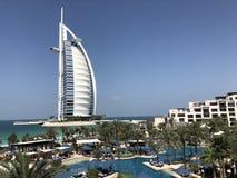 Burj Al阿拉伯人著名旅馆在迪拜阿拉伯联合酋长国 库存照片