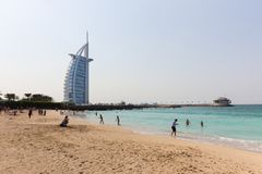 Burj Al阿拉伯人,在迪拜,阿拉伯联合酋长国 图库摄影