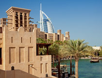Burj Al Arab as Seen from Madinat Jumeirah of Dubai on a Clear Sunny Day Royalty Free Stock Photography